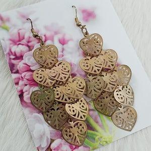 Gold Filigree Heart Dangle Chandelier Earrings